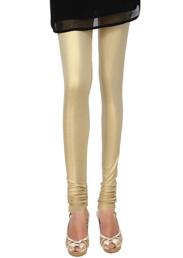 Gold shimmer lycra legging only on Kalki