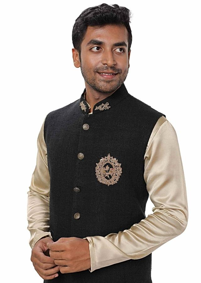 Gold Kurta Set Cowl Drape Paired With A Black Gold Detailing Embroidered Jacket Online - Kalki Fashion