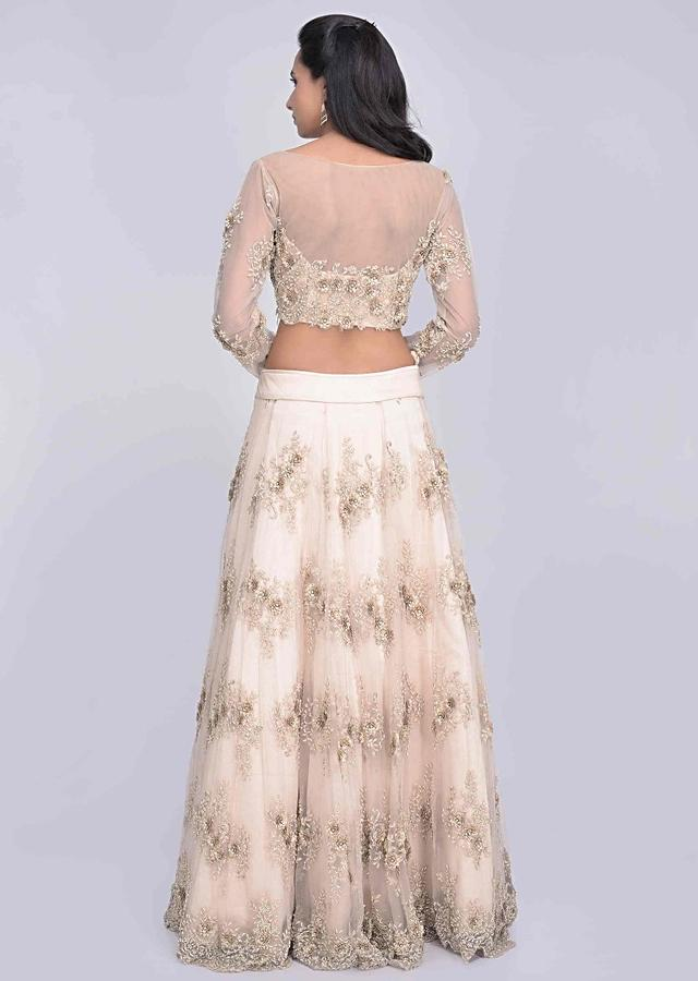 Gold embroidered net lehenga set with satin under layer only on Kalki