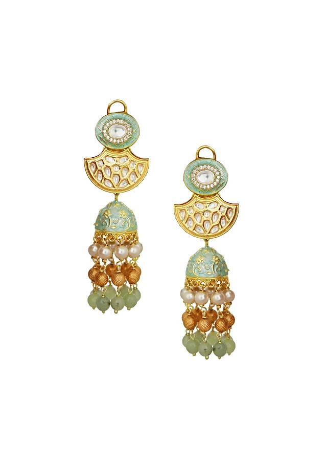 Gold Enamelled Kundan Polki Jhumkas With Shell Pearls And Gold Beads Online - Joules By Radhika