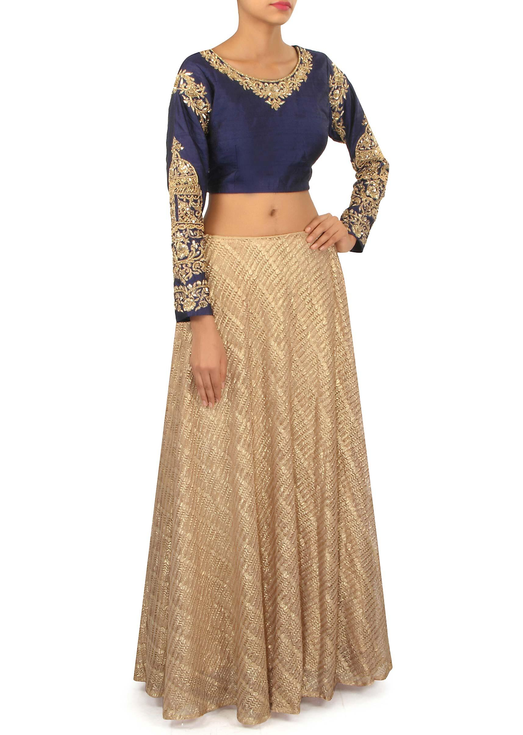 e195b7a3df211 Gold fancy lehenga with navy blue crop top only on KalkiMore Detail
