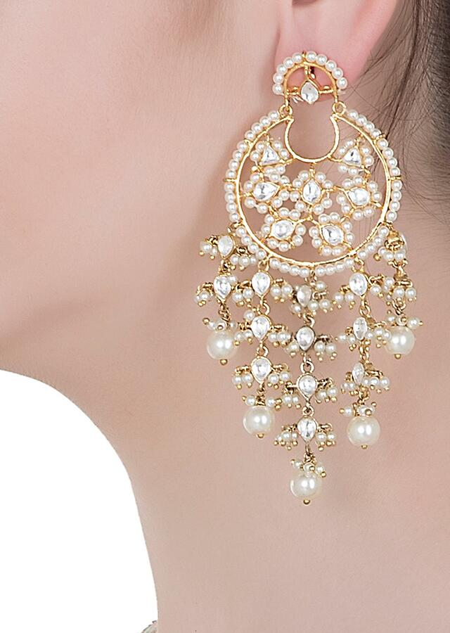 Gold Finished Ethnic Earrings With Kundan And Dangling Pearls By Aster