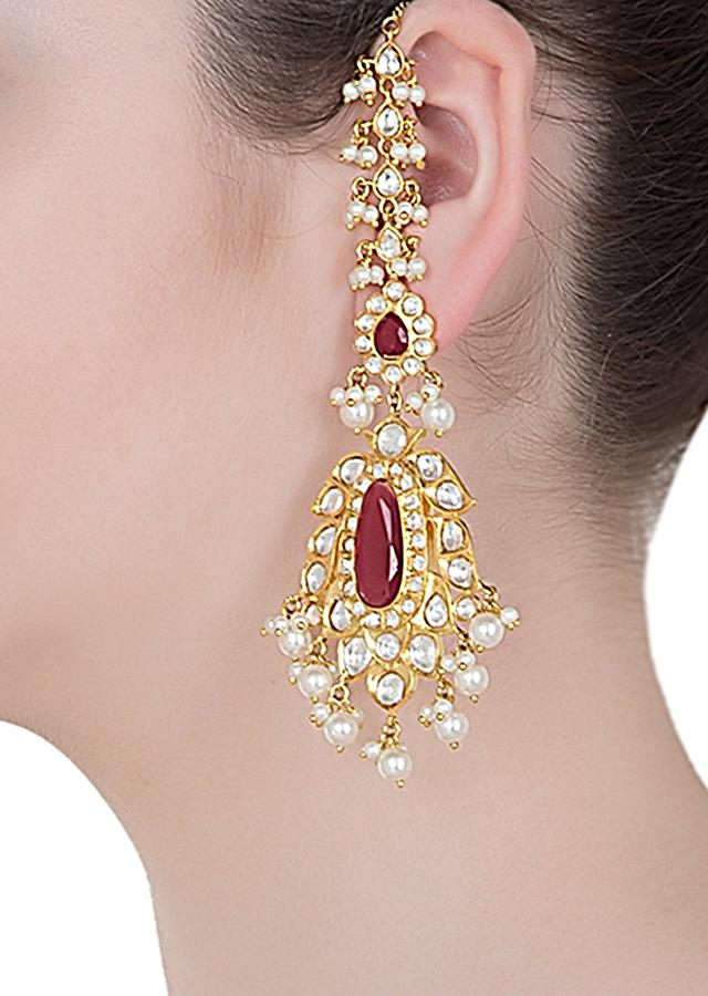 Gold Finished Ethnic Earrings With Red Stones And Pearls By Aster