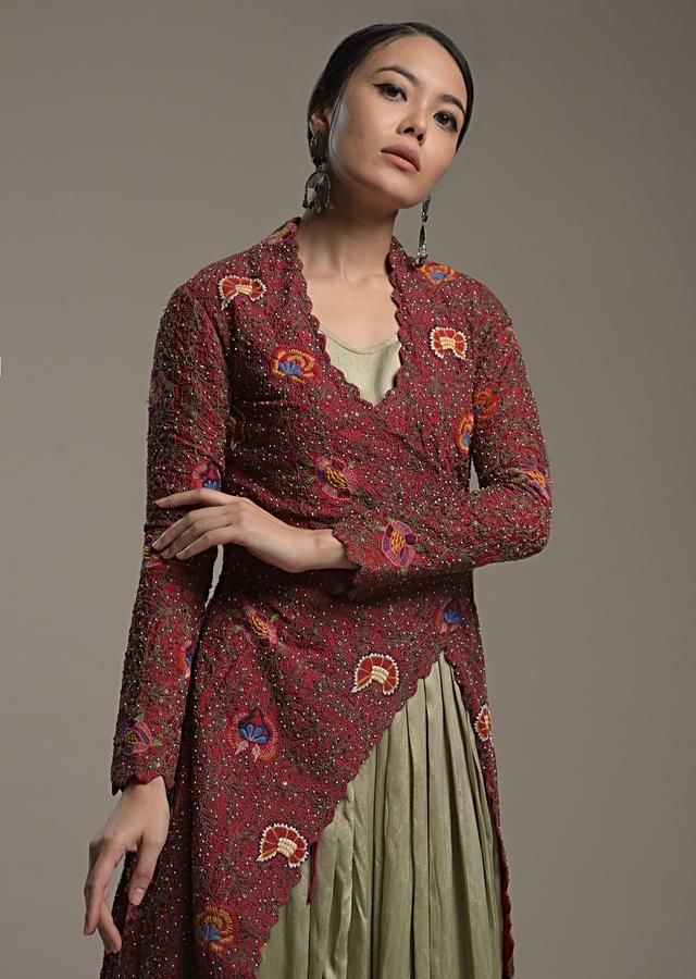 Gold Indowestern Anarkali With A Deep Red Heavily Embroidered Fancy Jacket With Colorful Thread And Sequins Work Online - Kalki Fashion