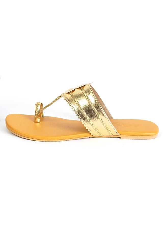 Gold Kolhapuri Flats With Mustard Yellow Sole By Sole House