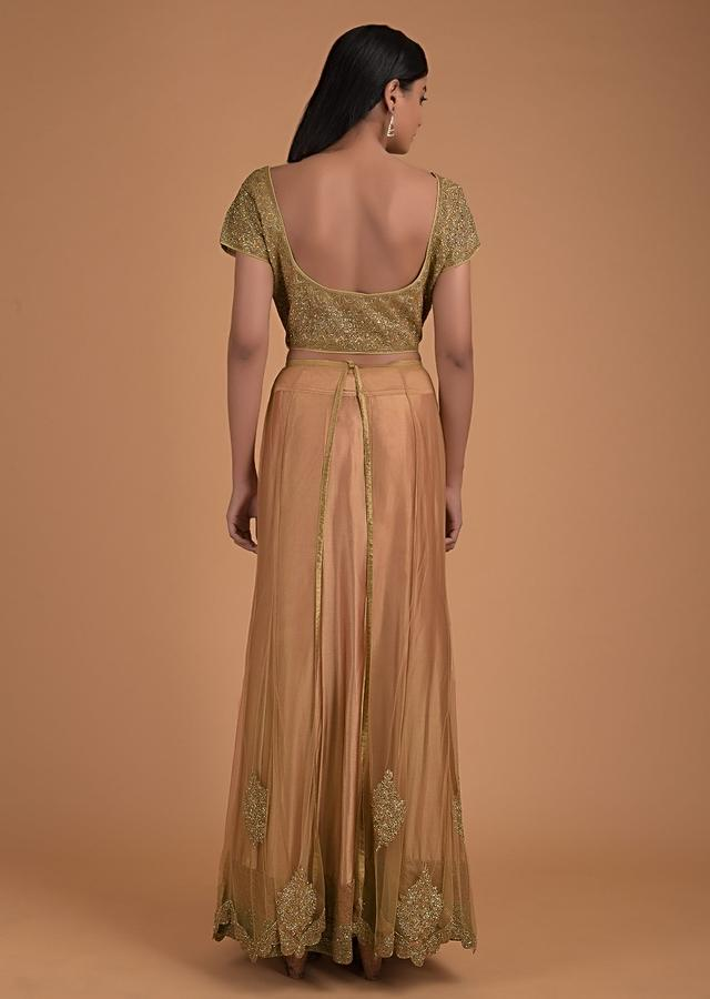 Gold Lehenga In Satin With Embellished Net Top Layer And Matching Choli With Heavy Embroidery Online - Kalki Fashion