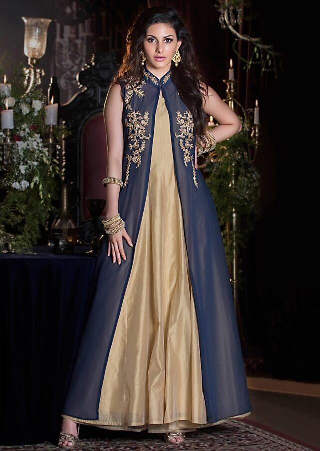 Gold Long Dress Matched With Navy Blue Long Jacket In Moti And Cut Dana Work Online - Kalki Fashion