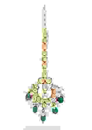 Gold Maang Tika With Green Beads And Ideal Blend Of Kundan Pieces And Pearls By Prerto
