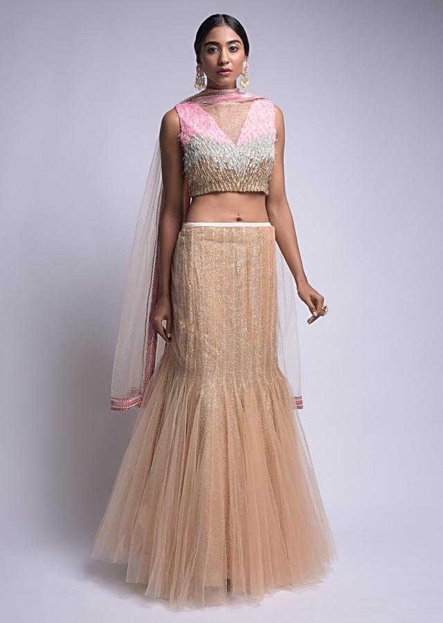Gold Mermaid Cut Skirt And Crop Top With Pink, Silver And Gold Embroidery In Ombre Pattern Online - Kalki Fashion