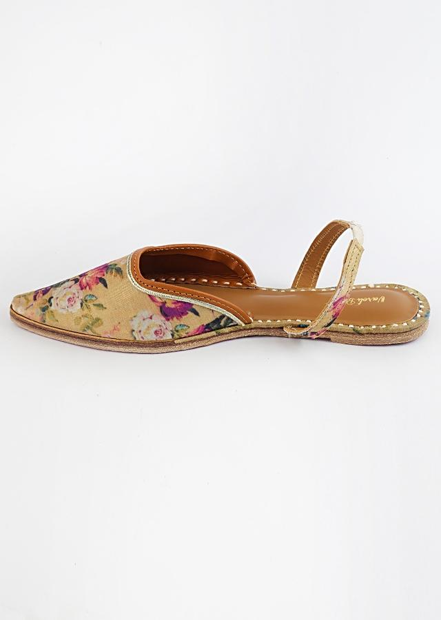 Gold Mules With Back Strap Featuring Vibrant Floral Print And Braided Rose Gold Zari By Vareli Bafna