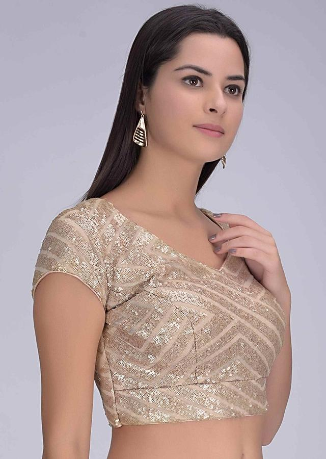 Gold net blouse with sequins in geometric pattern only on Kalki