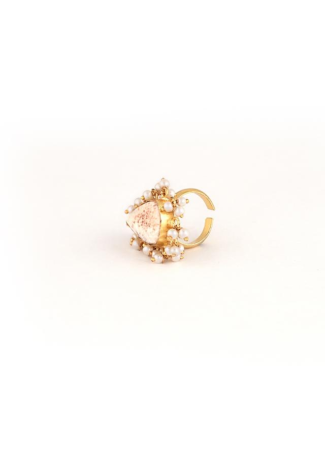 Gold Plated Adjustable Ring With An Off White Semi Precious Stone In The Centre And Edged In Moti Tassels By Kohar