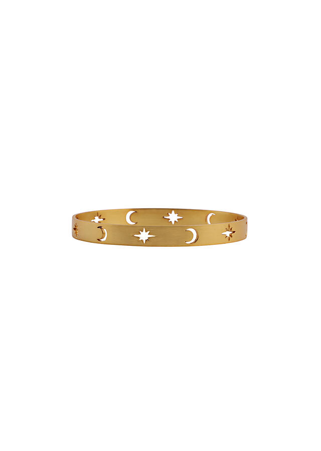 Gold Plated Bangle With Carved Stars And Moon Motifs By Zariin
