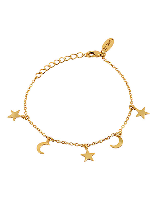 Gold Plated Bracelet With Star And Moon Tassels By Zariin