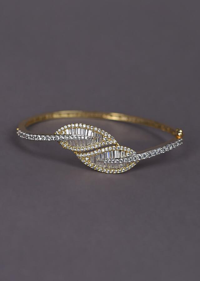 Gold Plated Bracelet With Stones And Bugle Beads In Leaf Motif Online - Kalki Fashion