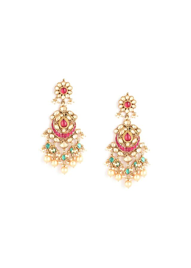Gold Plated Bridal Necklace And Earrings Set With Kundan And Moti Work Along With Semi Precious Stones In Shades Of Rani Pink And Green By Kohar
