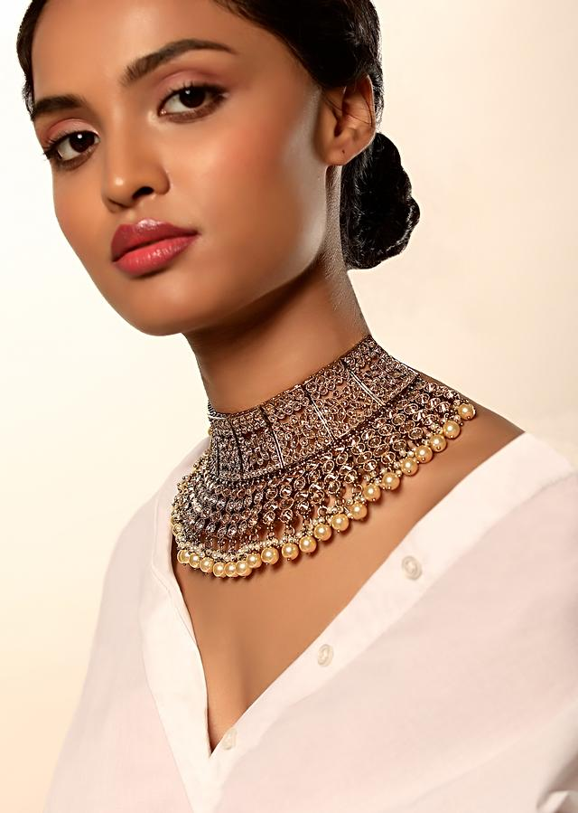 Gold Plated Bridal Necklace With Crystals Embellished In Floral Motifs Along With Yellow And White Pearls By Kohar