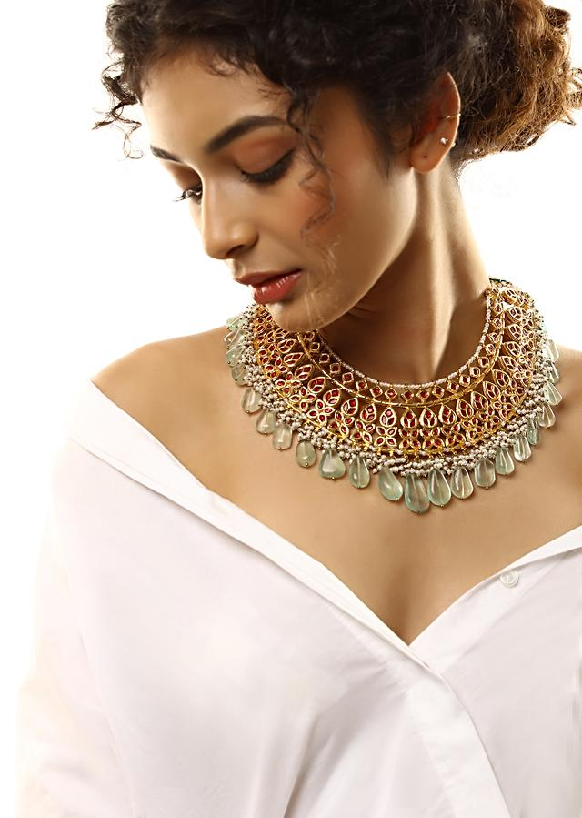 Gold Plated Bridal Necklace With Semi Precious Red Stones And Green Semi Precious Beads By Kohar