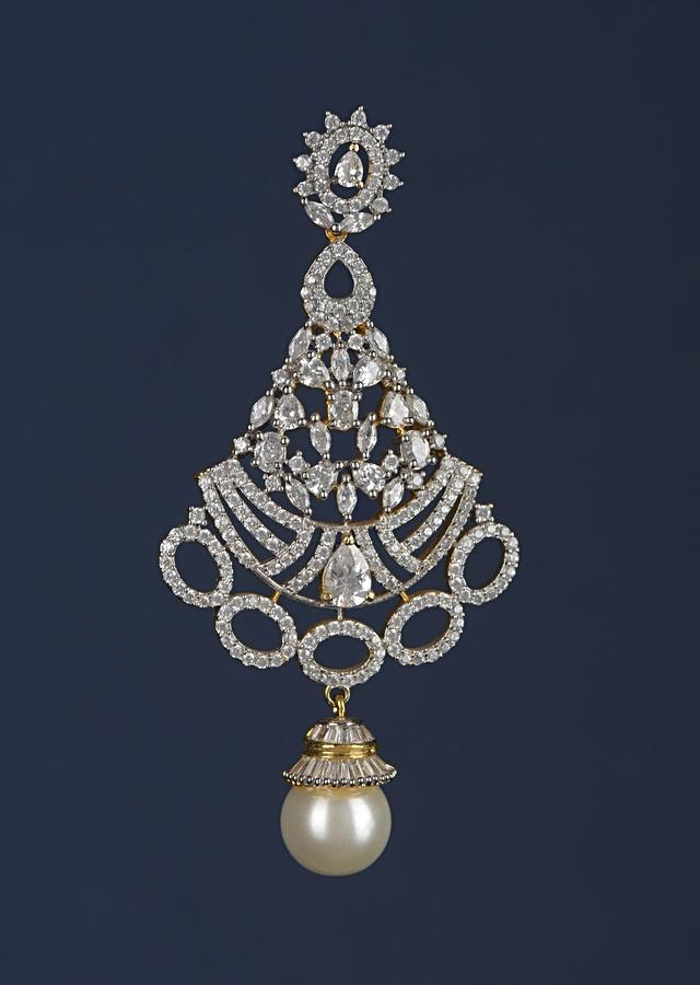 Gold Plated Carved Danglers With Stones And Crystals Along With Dangling Pearl Online - Kalki Fashion