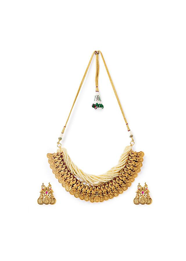 Gold Plated Carved Temple Necklace And Earrings Set With Shell Pearl Strings, Hydro Rubies And Shell Pearls Online - Joules By Radhika