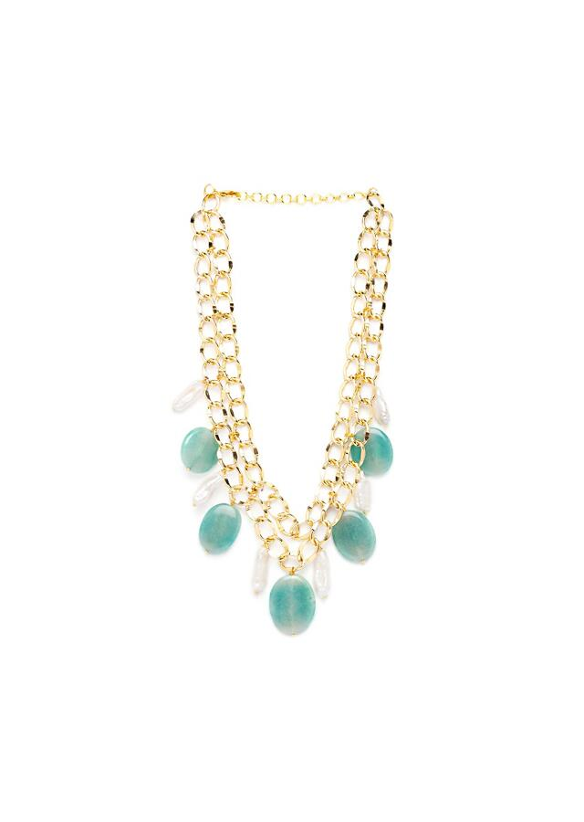 Gold Plated Chain Necklace With Baroques And Green Agates Online - Joules By Radhika