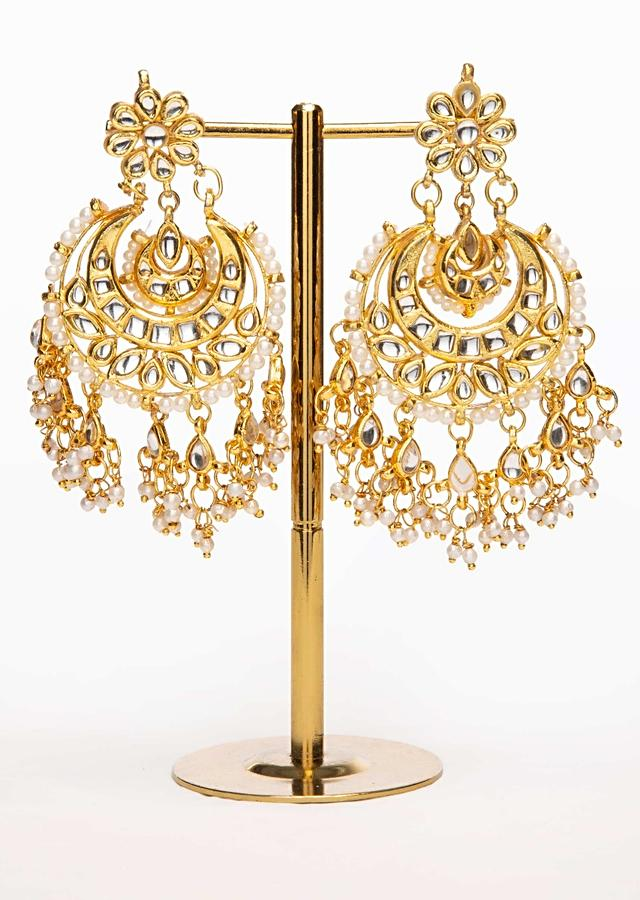 Gold plated chandbali earring with nano moti drops only on Kalki