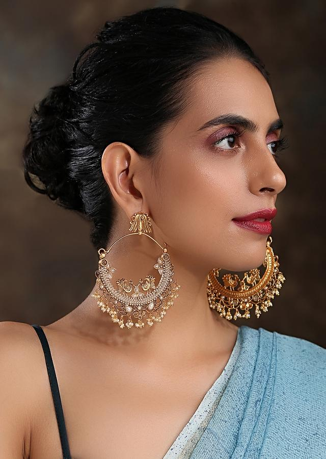 Gold Plated Chandbali Earrings With Temple Work, Bird Carvings And Embellished With High-Grade Pearls By Paisley Pop