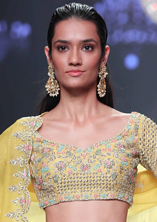 Gold Plated Chandbali With Kundan In Floral Motifs And Dangling Pearls Online - Kalki Fashion