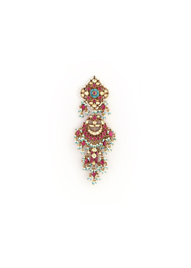 Gold Plated Chandelier Earrings Studded With Magenta Semi Precious Stones, Kundan And Dangling Bead And Moti Tassels By Kohar