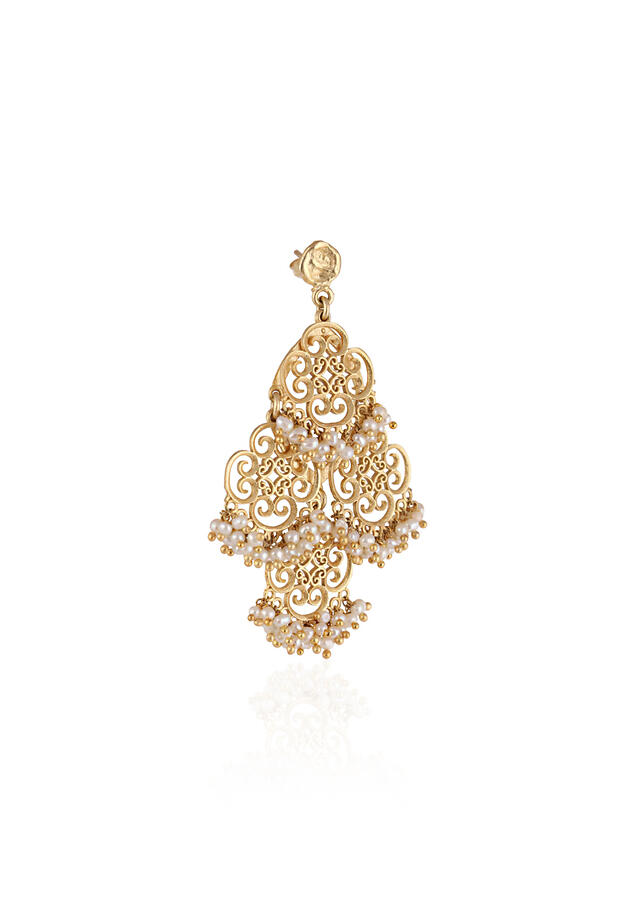 Gold Plated Chandelier Earrings With Delicate Pearl Beads And Intricate Filigree Motifs By Zariin