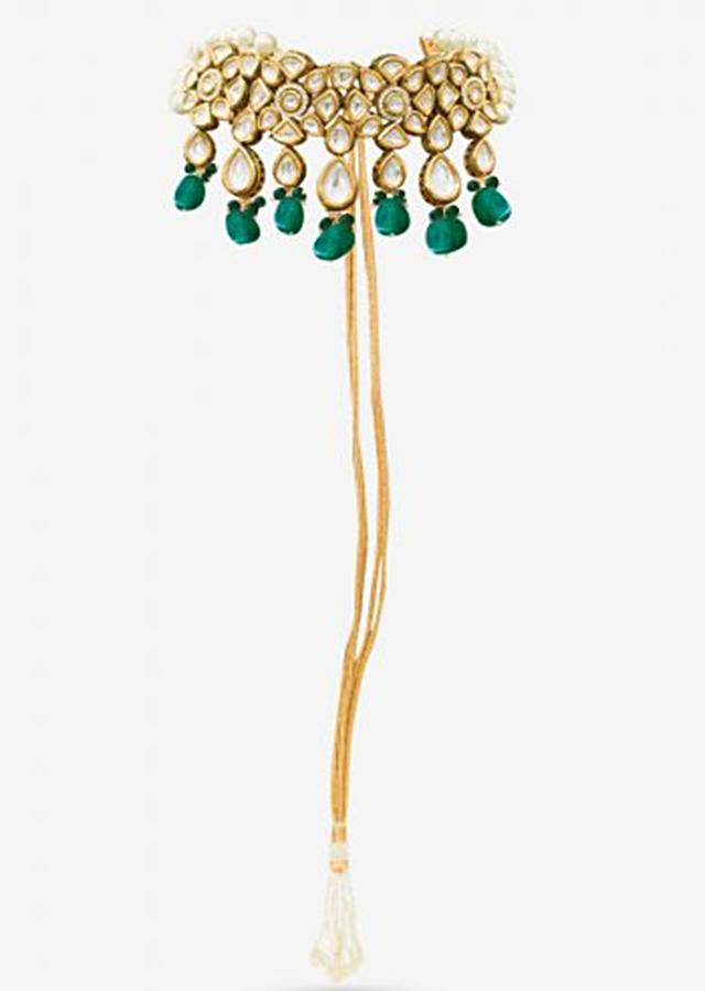 Gold Plated Choker Beautifully Hand crafted With Kundan And Elegant Dangling Green Beads By Prerto