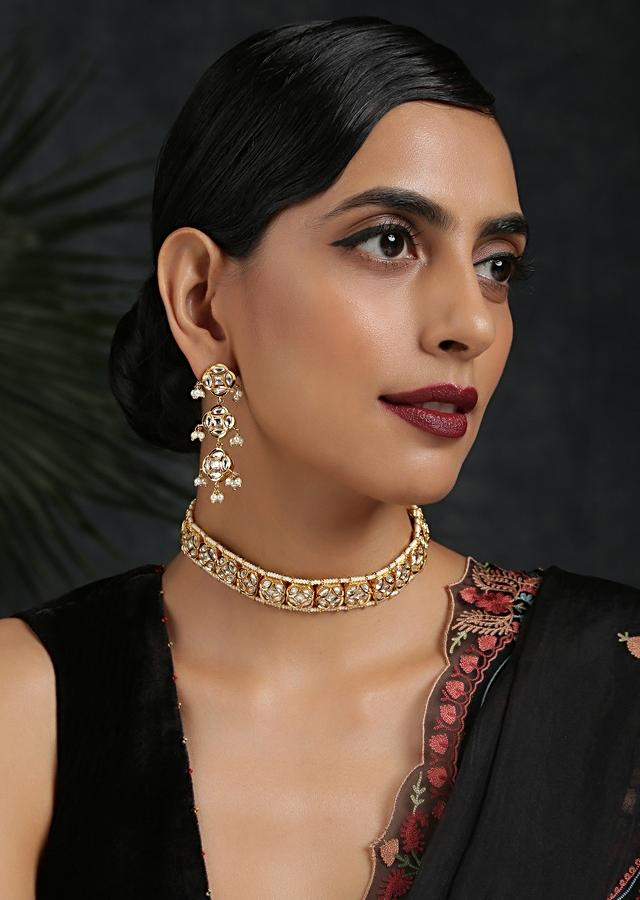 Gold Plated Choker Necklace And Earrings Set With Kundan And Moti Highlights In An Elegant Design By Paisley Pop