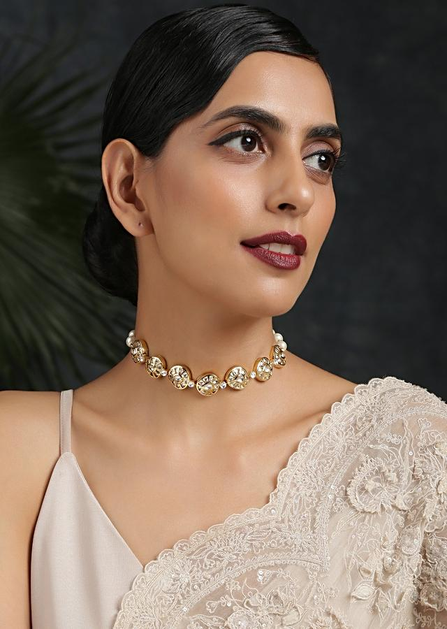 Gold Plated Choker Necklace Beautifully Handcrafted With Kundan And Pearls In A Minimalistic Design By Paisley Pop