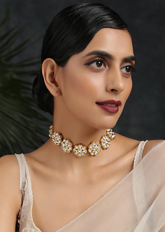 Gold Plated Choker Necklace Featuring Floral Kundan Motifs Attached By Link Chain By Paisley Pop