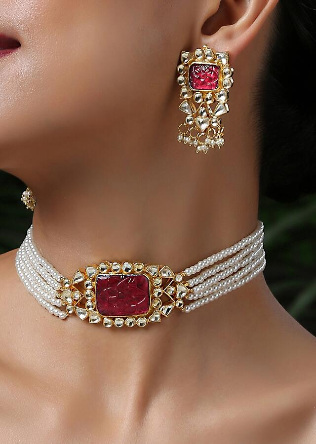 Gold Plated Choker Necklace Set With Carved Red Stone, Kundan And Shell Pearl Strings By Paisley Pop