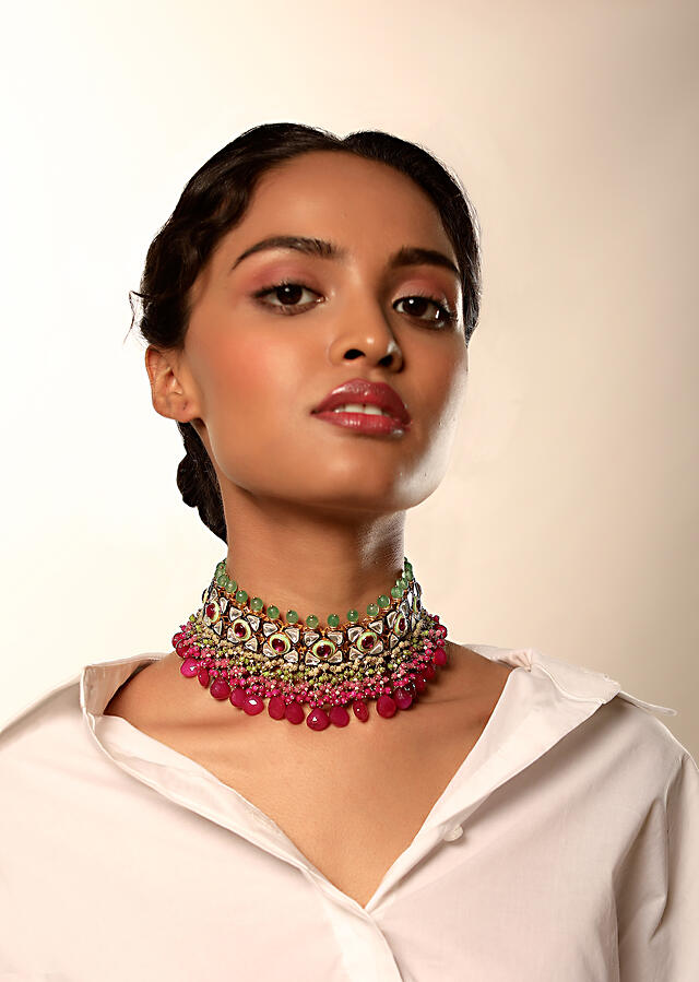 Gold Plated Choker Necklace With Kundan And Semi Precious Pink Stones Along With Green Bead Detailing By Kohar