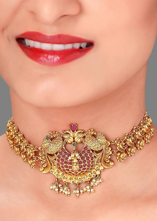 Gold Plated Choker Necklace With Rubies And Emeralds Set In Antique Design Online - Joules By Radhika