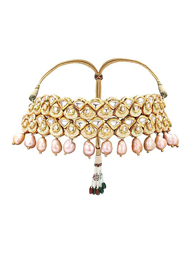 Gold Plated Choker Set With Polki, Meenakari And Dangling Fresh Water Pearls Online - Joules By Radhika