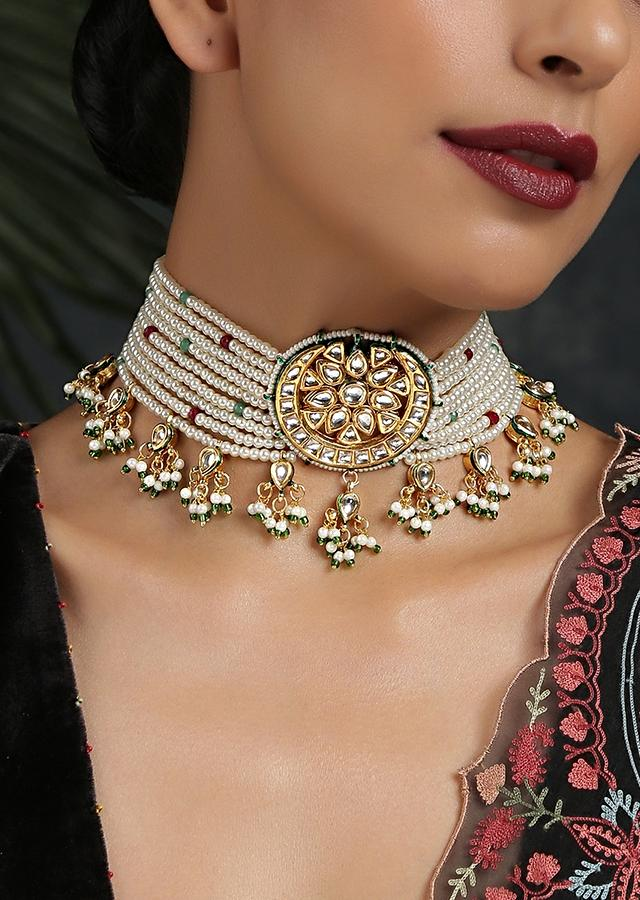 Gold Plated Choker With Kundan Flower Highlight In The Centre, Moti Strings And Tassel Detailing By Paisley Pop
