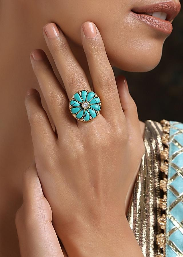 Gold Plated Cocktail Ring With Turquoise Stones And Kundan Arranged In A Flower Shape By Paisley Pop