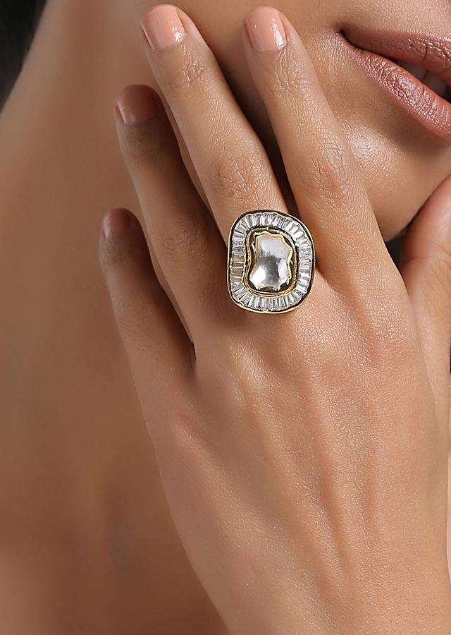 Gold Plated Cocktail Ring With Uncut Polki Stones And Baguettes Arranged In A Fascinating Shape By Paisley Pop