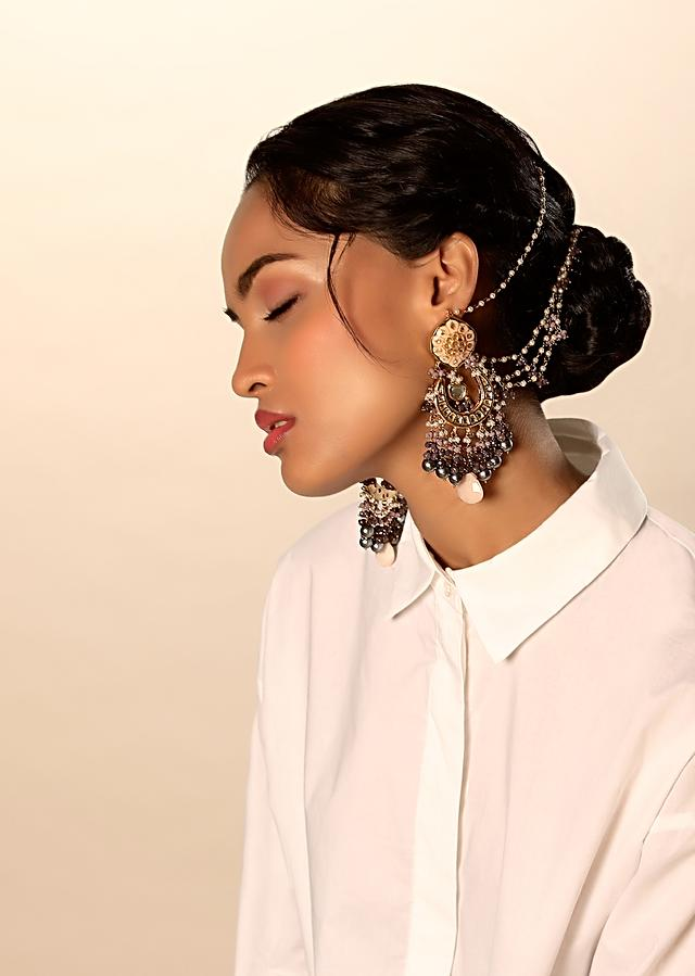 Gold Plated Danglers With Kundan Work And Peach Enamelling Along With Purple, Peach Beads And Grey Pearl Fringes By Kohar
