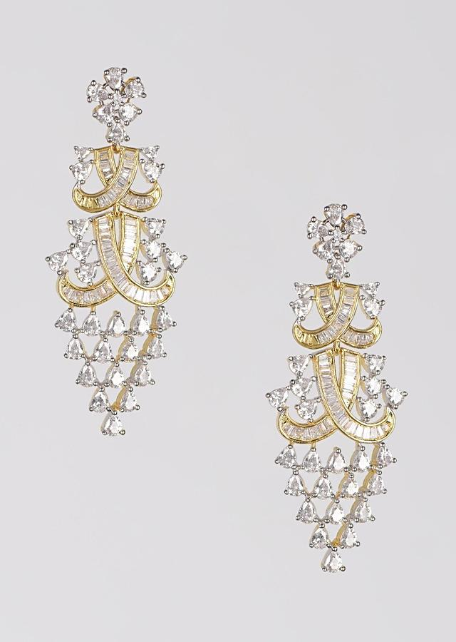 Gold Plated Dangling Earrings Studded With Bugle Beads And Crystals Online - Kalki Fashion