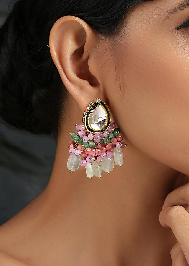 Gold Plated Earrings Featuring Drop Shaped Kundan Along With Dangling Pink And Green Bead Fringes By Paisley Pop