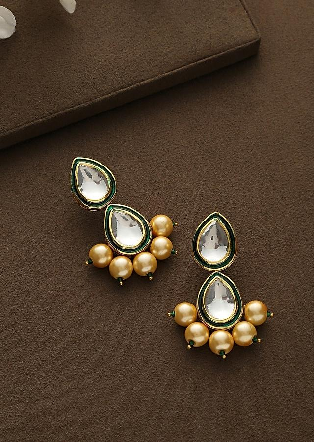 Gold Plated Earrings Featuring Two Drop Shaped Kundan Lined With Gold Beads By Paisley Pop