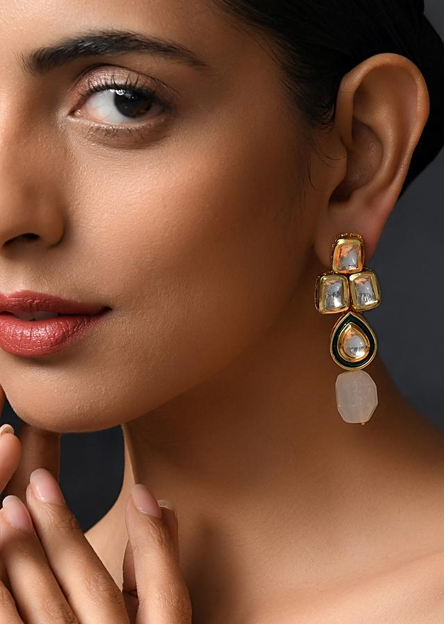 Gold Plated Earrings Handcrafted Using Green Stones And Kundan By Paisley Pop