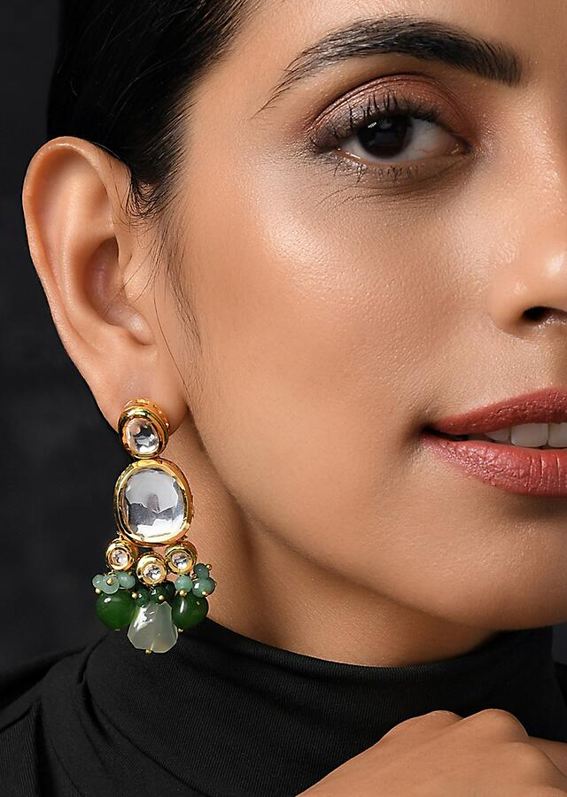 Gold Plated Earrings Handcrafted With Kundan And Dangling Green Beads By Paisley Pop