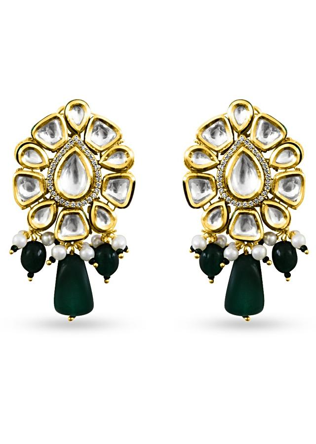 Gold-plated Earrings In Floral Motif With Kundan And Semi Precious Green Stones By Prerto