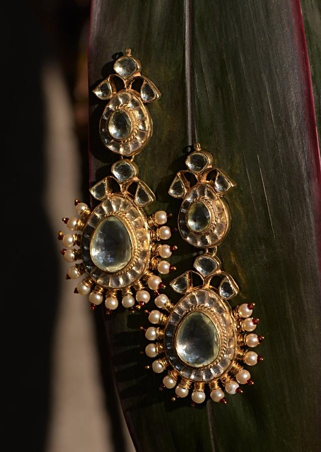 Gold Plated Earrings In Heritage Design Studded With Kundan And Bordered With Pearls And Beads Kohar By Kanika
