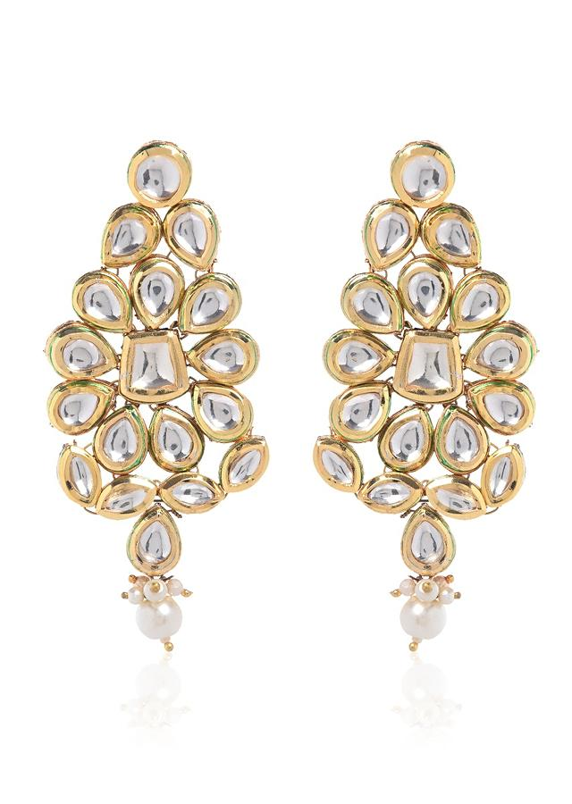 Gold Plated Earrings Studded With Kundan In Royal Ethnic Floral Motif By Paisley Pop